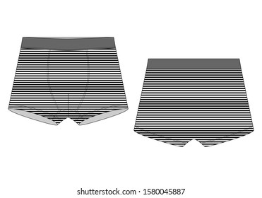 Technical sketch boxer shorts in striped fabric. Underpants isolated on white background. Man underwear vector illustration