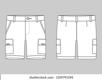 Technical sketch cargo shorts pants design template. Cargo Pants. Fashion vector illustration on grey background