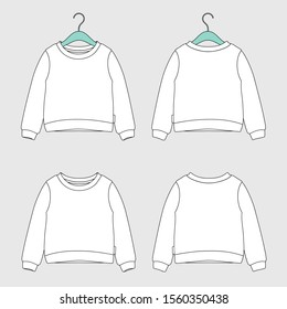 Technical sketch of children's sweatshirt. Kids sweatshirt template. Front and back view. Vector technical drawing.