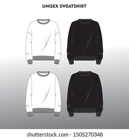 Technical sketch of front part of unisex sweatshirt in black and white color. Fashion design illustration.