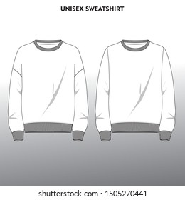 Technical sketch of front part of unisex sweatshirt in white color. Fashion design illustration