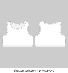 Technical sketch girl sports bra isolated on gray background. Women's sport underwear design template. Front and back views vector illustration