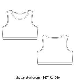 Technical sketch girl sports bra isolated on white background. Women's sport underwear design template. Front and back views vector illustration