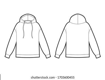 Technical sketch of man hooded sweatshirt. Oversize model