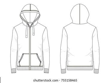 Technical sketch of man hooded sweatshirt in vector graphic