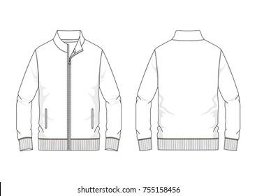 Technical sketch of man sweatshirt in vector graphic