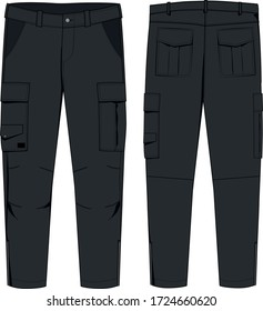 technical sketch of mens cargo pants