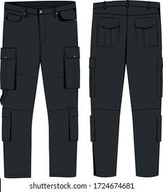 technical sketch of mens cargo pants soft denim