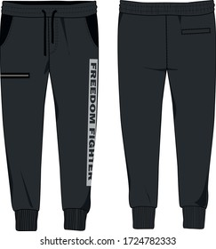 technical sketch of mens jersey joggers with slogan