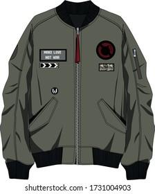 technical sketch of a men's khaki bomber jacket