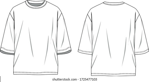 technical sketch of mens tshirt loose fitting mock up