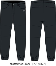 technical sketch of mens woven joggers