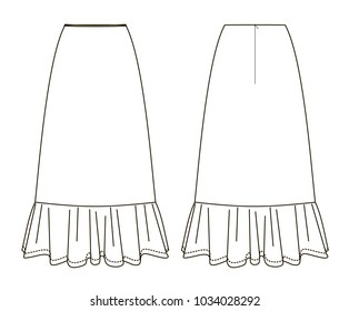 technical sketch of skirt with long ruffle back and front view