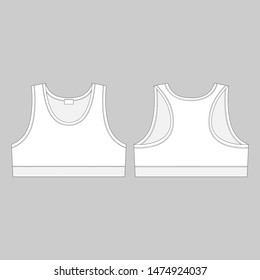 Technical sketch sports bra. Women's sport underwear design template. Front and back views vector illustration