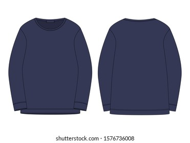 Technical sketch sweatshirt isolated in blue colors. Vector mockup template jumper. Technical drawing kids clothes. Sportswear, casual urban style.