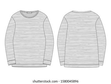Technical sketch sweatshirt isolated in melange fabric. Technical drawing kids clothes. Sportswear, casual urban style.  Vector mockup template jumper illustration.