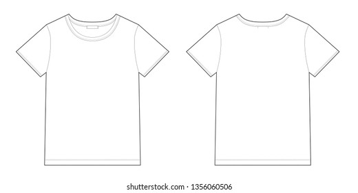 Technical sketch unisex black t-shirt design template. Front and back vector.