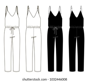 technical sketches of women's jumpsuit. Front and back