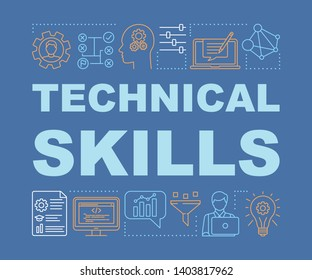 Technical skills word concepts banner. Power of knowledge, learning process  presentation. Isolated  typography idea with linear icons. Technical mindset vector outline illustration