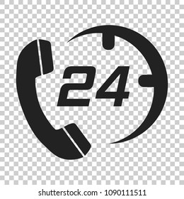 Technical support 24/7 vector icon in flat style. Phone clock help illustration on isolated transparent background. Computer service support concept.