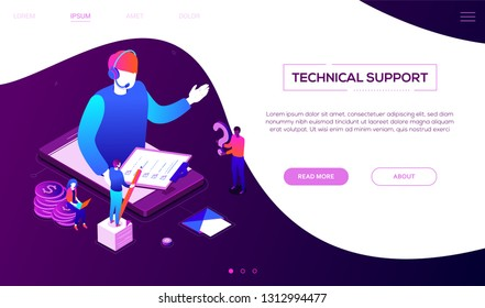 Technical support - colorful isometric vector web banner on purple background with copy space for text. A header with a male call center operator in headset on smartphone screen holding check list