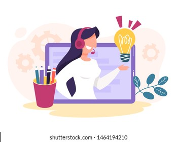 Technical support concept. Idea of customer service. Woman support clients and help them with problems. Providing customer with valuable information. Vector illustration in cartoon style