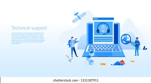 Technical support Concept for web page, banner, presentation, social media, documents, cards, posters. Vector illustration, customer tech hotline, customer assistance, 24h help, communication.
