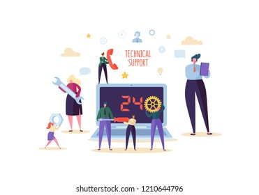 Technical Support and Customer Help Service Concept. Online Assistance with Characters Professional Operator with Laptop. Vector illustration