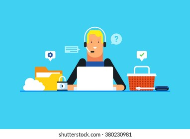 Technical support, Customer service, Online communication. Flat design modern vector illustration concept.