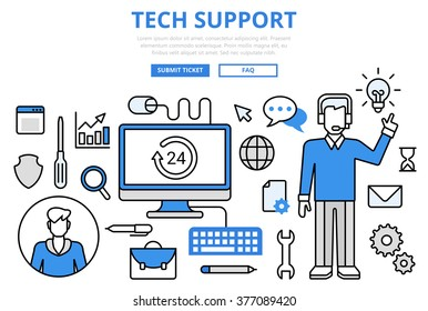 Technical support customer tech hotline concept flat line art vector icons. Modern website infographics illustration hero image web banner printed material. Creative lineart collection.