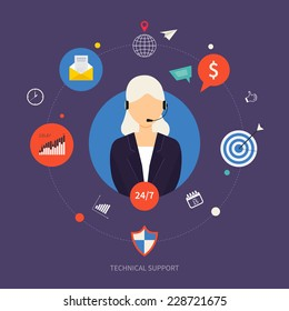 Technical support and data-clock protection flat illustration. Woman with icons. Vector illustration