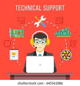 Technical support. Technical support engineer with headset at computer at work. Flat icons, thin line icons set, flat design graphic elements for web banner, websites, infographic. Vector illustration