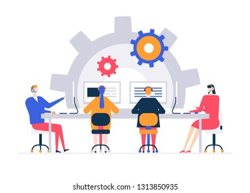 Technical support - flat design style colorful illustration on white background. A composition with call center operators in headsets talking with customers, users, working at computers in the office