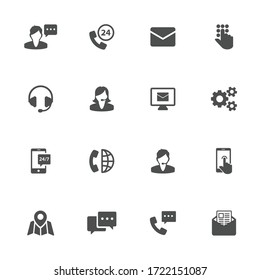 Technical support flat icons in gray. Set of 16 pieces.