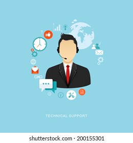 Technical support flat illustration. Man with icons. eps8
