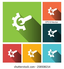 Technical support - Flat style vector icon set with long shadow for app and web site.
