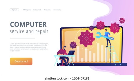 Technical support guys working on repairing a computer hardware and software. Troubleshooting, fixing problems, problem checking concept. Website vibrant violet landing web page template.