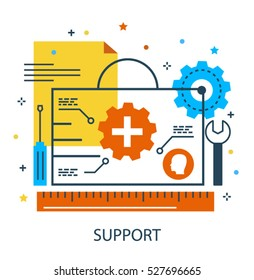 Technical support and help desk service, repairs icon concept