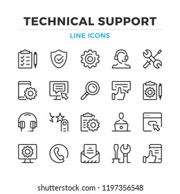 Technical support line icons set. Modern outline elements, graphic design concepts, simple symbols collection. Vector line icons