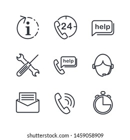 Technical support line icons set. Help, Support and Contact Vector Flat Line Icons Set. Phone Assistant, Online Help, Video Chat. Editable Stroke. Modern outline elements, graphic design concepts