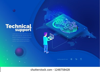 Technical support. A man interacts with a technical support system. Global map of the world. Technical support worldwide. Modern vector illustration isometric style.