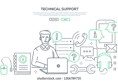 Technical support - modern line design style web banner on white background with copy space for your text. A composition with young male specialist, call center operator, assistant consulting customer
