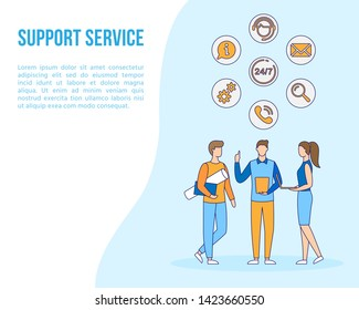 Technical support office, call center, helpdesk icons. Contact People Customer Service banner, filled outline style. Online 24X7 Business Help Centre graphic design poster creative vector illustration