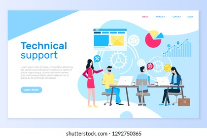 Technical support people answering questions help desk vector. Online communication clients, assistance with charts diagrams, brainstorming workers. Website or webpage template landing page in flat