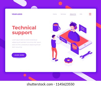 Technical support people and interact with smartphone. Landing page template. 3d isometric vector illustration.