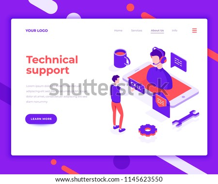 Technical Support People And Interact With Smartphone Landing Page Template 3d Isometric Vector Illustration