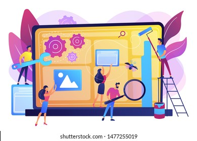 Technical support, programming and coding. Website maintenance, website maintenance services, update and keep your site easy concept. Bright vibrant violet vector isolated illustration