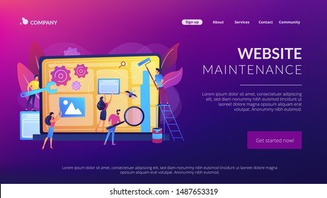 Technical support, programming and coding. Website maintenance, website maintenance services, update and keep your site easy concept. Website homepage landing web page template.