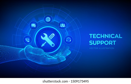 Technical support in robotic hand. Customer help. Tech support. Customer service, Business and technology concept. Vector illustration.