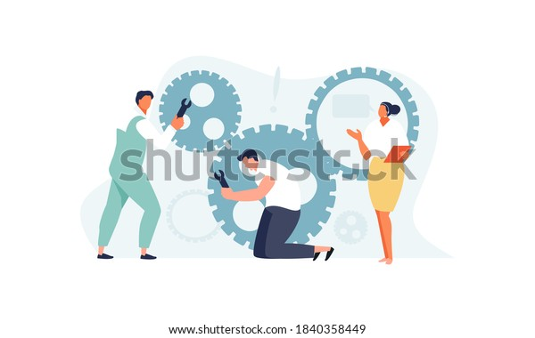 Technical support team dispatcher and engineers troubleshoot problems. Vector illustration